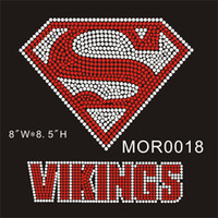 Wholesale Rhinestones High Quality - Superman Vikings custom hot fix rhinestone transfer MOR0018# China factory low price high quality DIY your t-shirt 15pcs