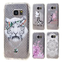 Wholesale Tiger Galaxy - For Galaxy S7 Edge S7Edge Flower Tiger Shockproof Transparent Clear TPU Gel Soft Phone Back Case Cover For Samsung G930F G935 G9300
