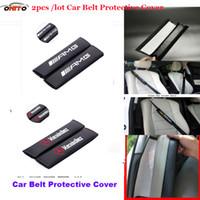 Wholesale Benz Car Accessories - 2pcs lot pu carbon fiber Car Seat Belts Padding Cover auto Car Belt cover Seat Belts & Pad seat covers emblem W211 W203 W204 W124 W201 AMG