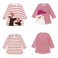 Wholesale santa animals online - ins Christmas Dresses Cartoon Santa Reindeer Dresses Girls Striped Printed Long Sleeve Princess Dresses For Kids Spring Autumn Clothing