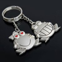 Piccante! 1 paio Love You Big Mouth Frog Keychain dell'anello chiave Keyfob Sweetheart regalo portachiavi