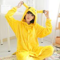 Wholesale Animal Pajamas Onesies - New Sale Unisex Adults Yellow Pikachu Pajamas Autumn Winter Hooded Long Sleeve Soft Flannel Onesies Sleepwear Homehold Free Shipping