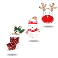 broches de guirnalda al por mayor-Serie de Navidad Tree Snowflake Garland Broches en forma de Regalo del árbol de Navidad Ancianos Broche de cadena Pin Ropa Joyería