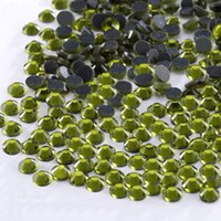 Wholesale Olivine Hotfix Rhinestones - SS6 SS10 SS16 SS20 SS30 Olivine Shiny Glass Flatback Hotfix Rhinestones For Wedding Dress Accessories