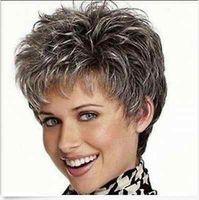 Wholesale Multi Color Short Wigs - NEW Vogue mix color lady WOMEN Multi-Color Gray Short wigs & Free Shipping