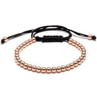Wholesale Girls Beaded Bracelets - Brading Macrame Men girl Bracelets 24K Gold Plated 4MM Round Beads Wrap Bead Bracelets Women mens rope bracelet