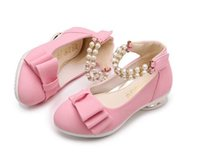 Wholesale girls pearl dress shoes - New Kids Shoes Girl Bowknot Pearl Princess Shoes Kids PU Shoes 3 Colors 5 pairs l