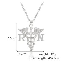 Wholesale Wholesale Nurse Gifts - RN BSN Nursing Necklace Caduceus Angel wings Registered Nurse Pendant Necklaces Silver Color Charm Nurse Jewelry Graduation Gift