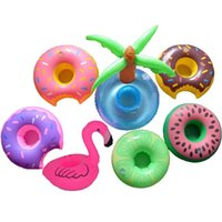 Wholesale Gold Pool - Inflatable Mini Flamingo Coconut Tree Donuts Cola Beverage Cup Holder Drink Pool Float Home Party Decoration Supplies