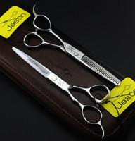 Wholesale left hand scissors japan - 317# Left Hand 5.5'' 16cm Brand Jason TOP GRADE Hairdressing Scissors 440C Cutting Scissors Thinning Shears Professional Human Hair Scissors