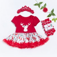 Wholesale Tight Dress Outfits - Christmas Baby clothes Sets New Girls Infant Outfits Romper Set Newborn Clothing Sets Long Sleeve Romper Dress Tights Headband Set A7544
