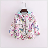 Wholesale Toddler Girls Down Coat - Retail 2016 New Autumn Cute Baby Girl Coat Animals Printing Cartoon Graffiti Hooded Zipper Girls Jacket Long Sleeve Toddler Girl Outwear