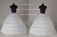 Wholesale Shirred Gown - White 6 HOOP Wedding Ball Gown Crinoline Bridal Dress Petticoat Skirt Underskirt