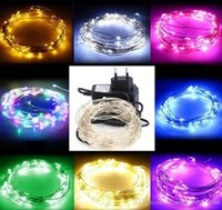 rollo de alambre led al por mayor-30 Rollos 10 m 100 leds RGB Rosa Rojo Azul Verde Blanco Cálido Blanco Amarillo Púrpura Cable de cobre Cadena Luz de hadas + 30 piezas Adaptadores 1A