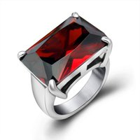 Wholesale Large Crystal Silver Rings - Luxury Brand Large Red Austria Crystal Ring For Women High-Grad Gemstone Rings 2017 Best Sellers Fashion Geometric Stainless Steel Ring