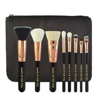 Wholesale Makup Bag - Make-up For You Makeup Brushes Set Baking Varnish Wooden Handle with Zip PU Bag Makup Brushes Kit Gold RoseTube 8pcs set 2805030