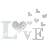 Wholesale Hot Sale DIY D LOVE Sweet Hearts Wall Clock Mirror Acrylic Home Office Decor Sticker Excellent Quality