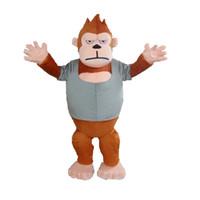 Wholesale Gorilla Adult Costume Mascot - 2016 Hot animal Gorilla Furry Polar Cartoon Mascot Costume Party Fancy Dress Adult Size Free Shipping Big High Quality
