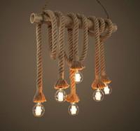 Wholesale Fluorescent Hand Lamp - Retro Double Heads Rope Pendant Lights Loft Vintage Lamp Restaurant Bedroom Diningroom Pendant Lamp Hand Knitted Hemp Rope Light