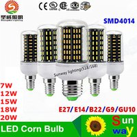 Wholesale g9 energy saving bulbs - LED Bulb E27 GU10 G9 E14 B22 SMD4014 7W 12W 15W 18W 21W Warm White Wihte Super Bright Corn Bulb Energy-saving Light