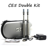Wholesale Ego T Ce5 Double - E cigarette kits eGo CE5 Double Kit CE5 Atomizer Clearomizer ego-t battery 650mah 900mah 1100mah Zipper Case Ce5 E Cig Starter Kits