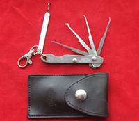 Wholesale Cheap Bag Hooks - high quality cheap Pocket Lock goso folding 4-in-1 single HOOK PICKS Jackknife locksmith tool leather bag