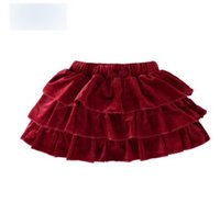 Wholesale Baby Clothes Cupcakes - Christmas Baby Girls pleated Skirts Infants Baby Kids princess Velvet Cupcake skirt Children bowsnot Red all-match skirt Kids clothing G1271