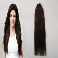 Wholesale Brazilian Hair Dark Brown Straight - #4 Dark Brown Tape Human Hair Extension Straight Brazilian PU Hair Skin Weft Hair 20 pcs 30g 40g 50g 60g 70g
