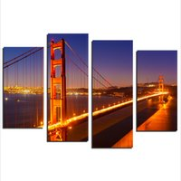 Wholesale Golden Gate Bridge Painting - Canvas Wall Art, Golden Gate Bridge Landscape Wall Art San Francisco Canvas Prints On Canvas for Living Room Bedroom Wall Decorations