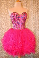 Wholesale Teens Sexy Cocktail Dress - Hot Pink Homecoming Dress 2017 Free Shipping Evening Cocktail Dresses Crystals Short Graduation Dress for Teens