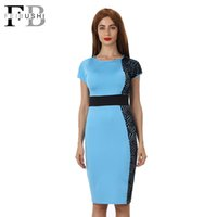 Wholesale Color Block Dresses Office - 2016 Color Block Patchwork Dress Women Cotton O-Neck Short Sleeve New Fashion Knee-Lenght Bodycon Office Dress