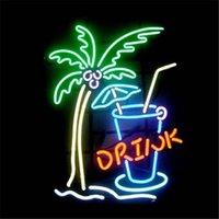 Wholesale Neon Drinks - Drink Sign DIY LED Neon Sign Real Glass Flex Rope Light Indoor Outdoor Decoration RGB Voltage 110V-240V