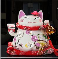 tirelires chat chanceux achat en gros de-Lucky Cat ornements en céramique véritable japonais Lucky Cat grand cochon tirelire cadeaux d'affaires