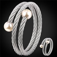 Wholesale Multi Layer Earrings - U7 Pearl Piece Stainless Steel Jewelry Sets For Women Fashion Jewelry Pearl Multi Layer Cocktail Ring And Bracelet Set