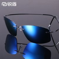 Wholesale Lighting Eyeglasses - Wholesale-Luxury Ultra-light Flexible Pure Titanium Rimless Mirror Polarized Sunglasses Eyeglasses Eyewear Unisex Oculos de sol feminino