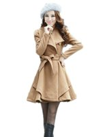 Wholesale Scarves Sash - Autumn Winter Long Coat Korean Single Breasted Scarf Collar Slim Trench Overcoats WCB0021