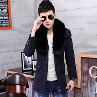 Wholesale Men S Woolen Trench Coat - 2015 New Autumn Winter Men's woolen Jacket fashion British Style Fur Collar single Breasted man thick trench coat US size XS S M L