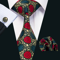 черный галстук желтые полосы оптовых-Мужские Шелковые Печатные Галстуки Красный Желтый Синий Черный Цвет Смешивания Полосы Бизнес Свадебный Галстук Набор Включают Галстук Запонки Hankerchief Н-1231