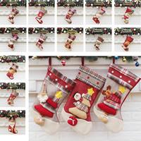 Wholesale candies decorations - 22.5*46*26.5cm Canvas Christmas Stocking Christmas Decorations Gift Bag Santa Claus Snowman Elk Socks Candy Bags Party Supplies HH7-138