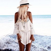 Wholesale Womens White Playsuit - 2018 New Combishort Femme Summer Loose White Short Jumpsuit Deep V-neck Spaghetti Off Shoulder Playsuit Rompers Womens Jumpsuit