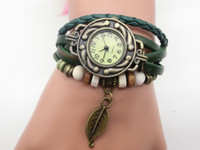 Wholesale Vintage Watch Leather Bracelet - Free Shipping New Vintage Genuine Leather Watch Leaf Pendant bracelets Wristwatches For Women and men's watches