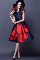 Wholesale Rose Tank Dress - 2016 Women Summer Dress Runway Elegant Vintage Rose Large Floral Print Midi High Waist Ball Gown Tank Dress