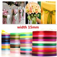 Wholesale wedding ribbon party supplies - Silk Satin Ribbon 15mm 22 Meters Wedding Party Festive Event Decoration Crafts Gifts Wrapping Apparel Sewing Christmas Supplies