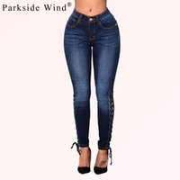 Wholesale Tight Sexy Jeans Woman - Wholesale-PARKSIDE WIND Women Jeans Hollow Out Cross Strap Bandage Pencil Pants Sexy Lace Up Hole Tight Ripped Jeans Female KWA0387-5