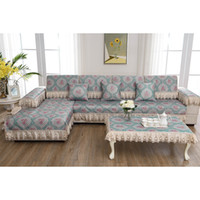 Wholesale Slipcover Sofas - Unique Blue Flower Pastoral Style Sofa Pillow Couch Cushion Sofa Cover Slipcovers Furniture Protector Cotton Four Seasons free shipping