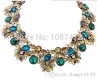 Wholesale Gemstone Peacock Necklace - Nice Peacock Retro Crystal Gemstone Necklace Statement Necklace Jewelry Fashion Rhinestone Chokers Necklaces For Women Girls
