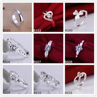 çerçeve taşlar toptan satış-10 parça diffrent tarzı kadın gümüş yüzükler DFMR9, toptan yüksek dereceli moda taş 925 gümüş yüzük fabrika doğrudan satış