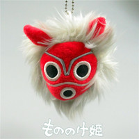 Wholesale Princess Mononoke - New Princess Mononoke Ashitaka Cosplay Mask Stretching Vibration Keychain Pendant Plush Toy (10pcs Lot - Size : 8cm )