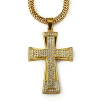 2017 1PCS Classic Design Gold Plating Iced Out Bling Rhinestone Cross Pendentif Collier Femmes / Hommes Mode Jewelry Christmas Gift