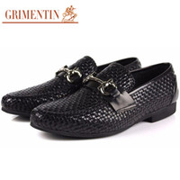 Wholesale braided wedding dress for sale - GRIMENTIN Hot sale brand fashion braided mens formal shoes genuine leather breathable brown black business oxford men shoes size OX16
